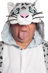 Snow Leopard Animal Kigurumi Adult Onesie Costume Pajamas Hood