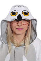 Snowy Owl Animal Kigurumi Adult Onesie Costume Pajamas Hood