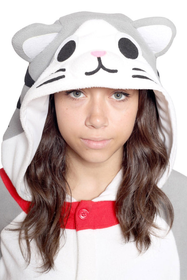 Tabby Cat Animal Kigurumi Adult Onesie Costume Pajamas Hood