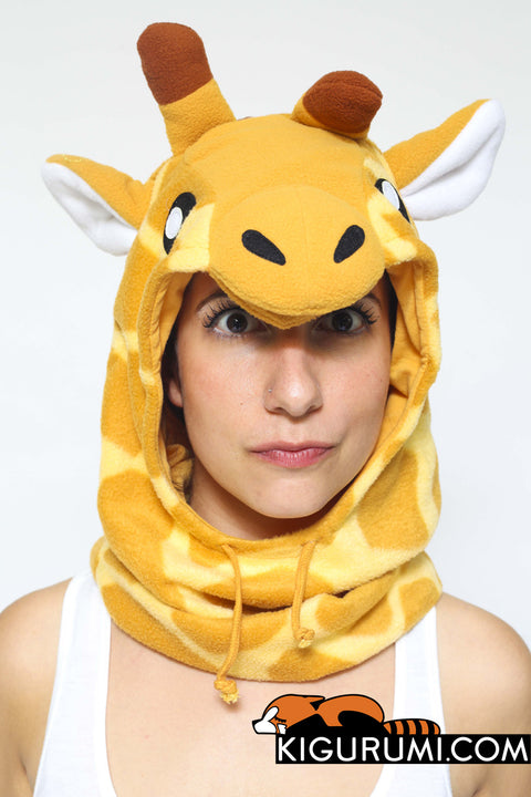 Giraffe Kigurumi Neckwarmer Hood Animal Costume Adult