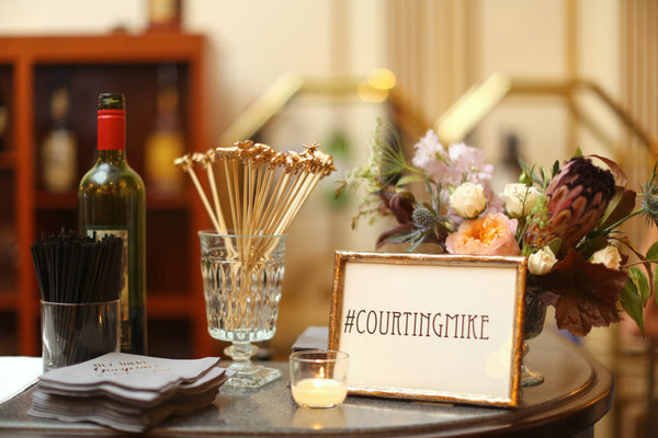 art deco barcart with wedding hashtag