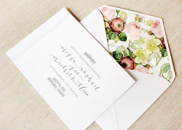 classic wedding invitaion with floral envelope liner
