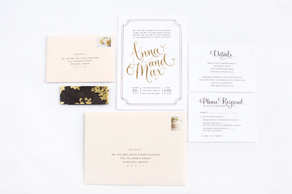 elegant gold foiled and blush wedding invitations
