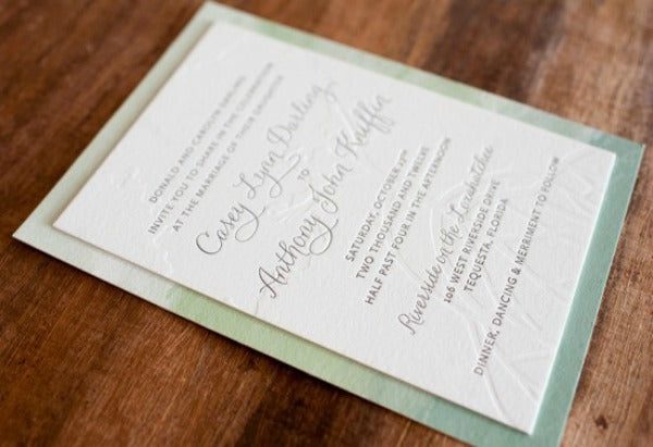modern watercolor letterpress wedding invitations