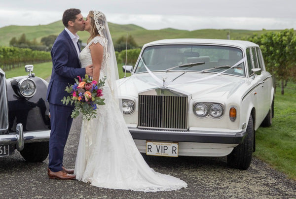 New Zealand wedding with vintage cars