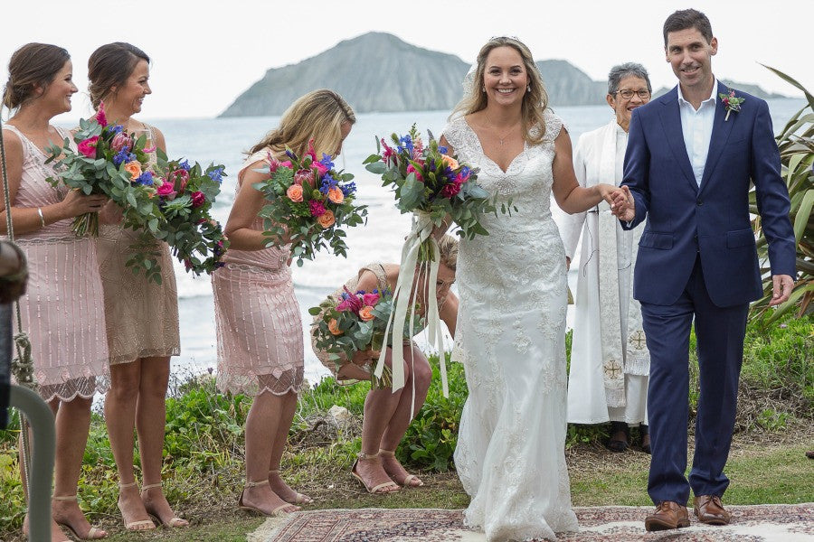 bride and groom say i do new zealand outdoor wedding