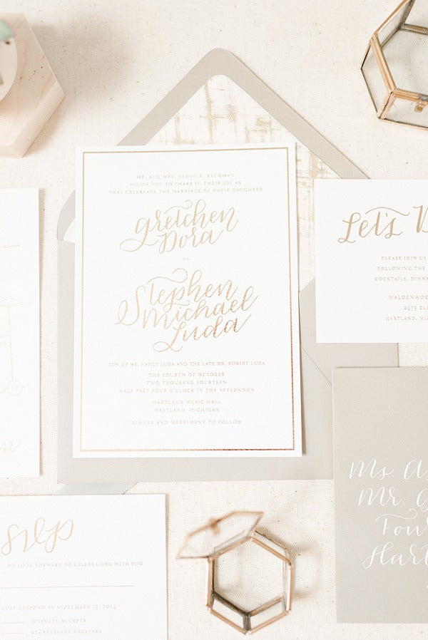romantic wedding invitations with gold foil