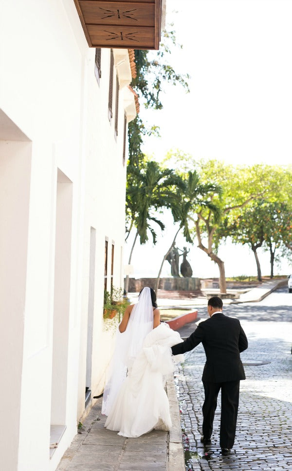 Chic Destination Wedding in Puerto Rico Vibrant Purple Wedding Bride Wearing Cathedral Lace Veil from The Mantilla Company