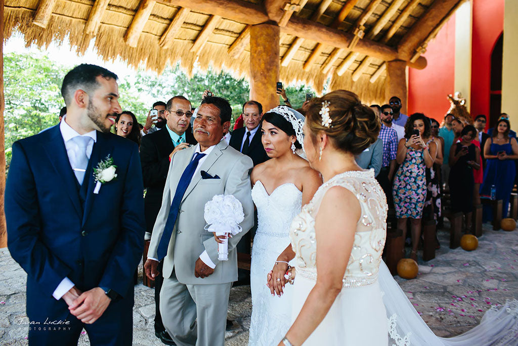 Groom seeing bride for first time Destination wedding in Mexico