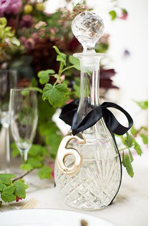 decanter wedding reception table number