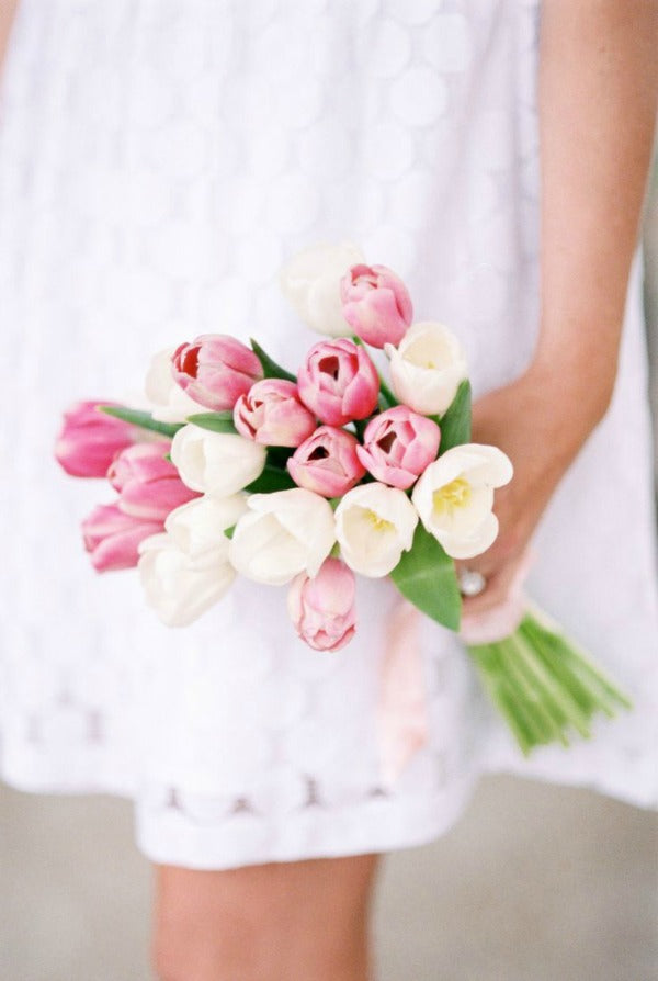 tulip bouquet for spring wedding in pink