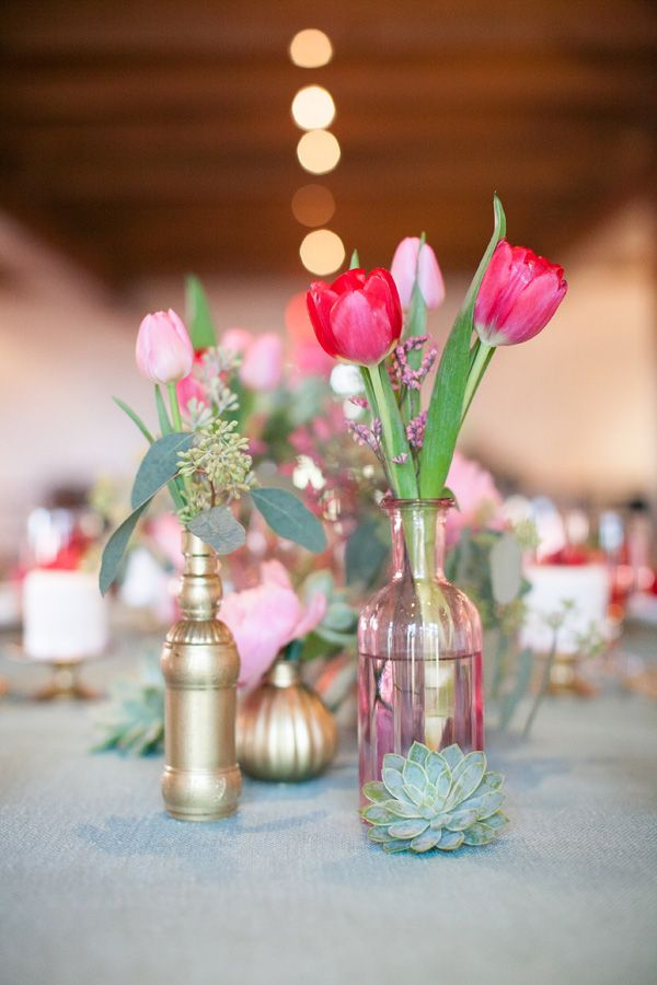 red and gold tulip bouquet for spring wedding
