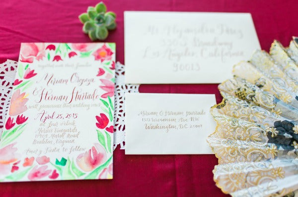 Elegant Latin Hacienda wedding calligraphy invitation