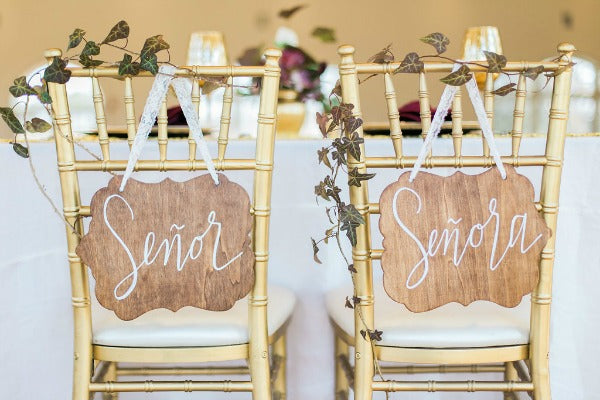 Elegant Latin Hacienda wedding spanish bride and groom signs
