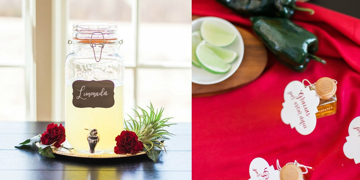 Elegant Latin Hacienda wedding tequila favors