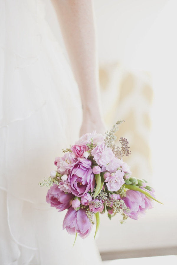 tulip bouquet in lavender for spring wedding
