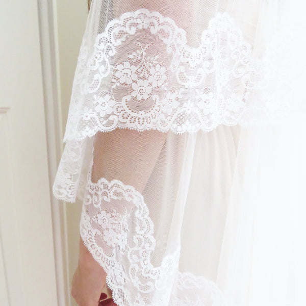 bridal mantilla wedding veil with traditional spanish lace