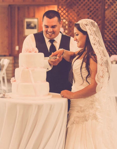 cake cutting polka dot mantilla veil