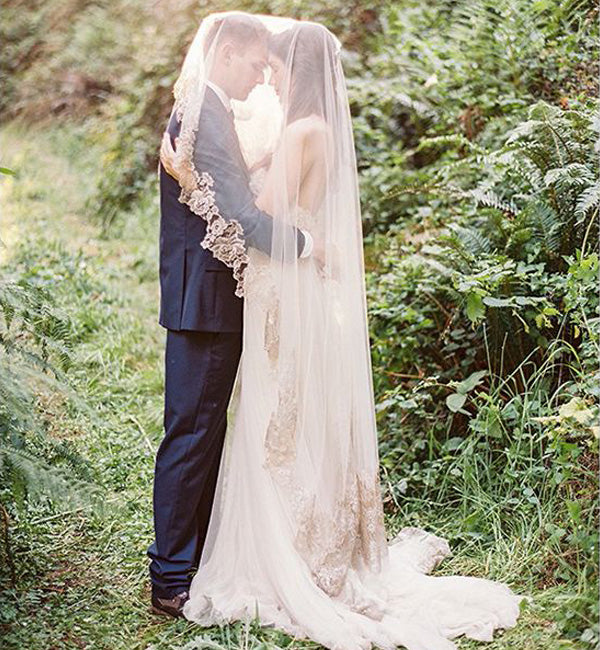 cathedral length veil ivory lace