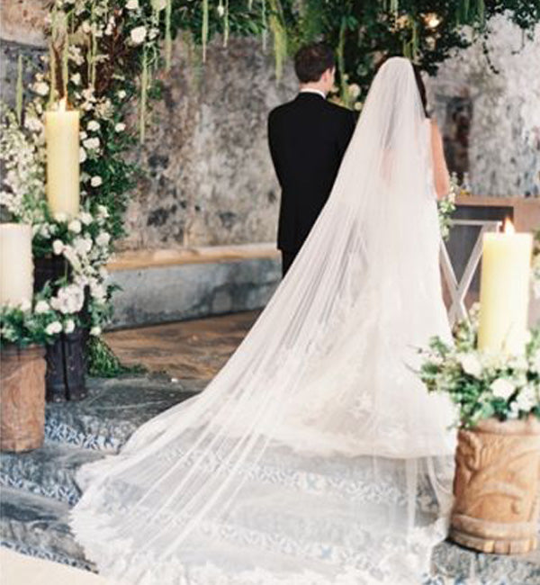 cathedral length veil outdoor ceremony