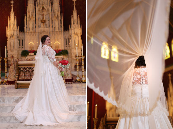 cathedral wedding in catholic church with mantilla veil