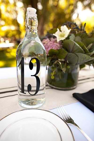 water bottle reception table number