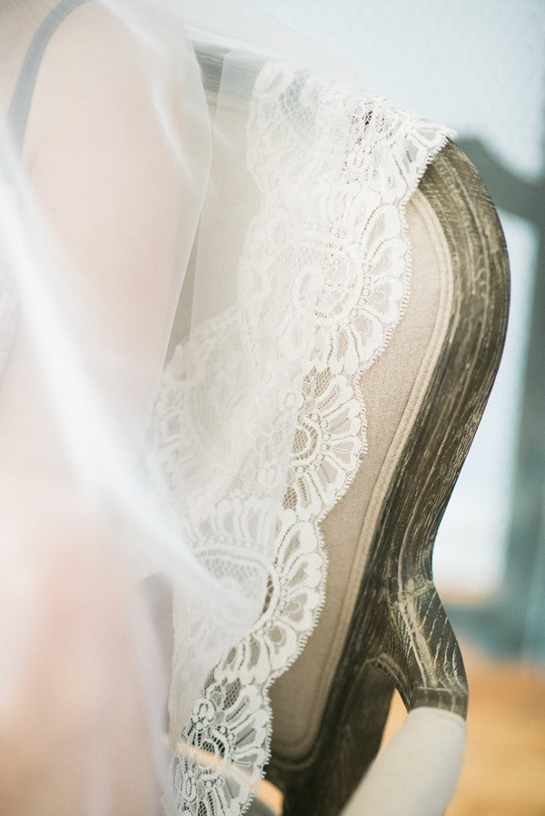 boudior bridal photo shoot with mantilla wedding veil lace detail