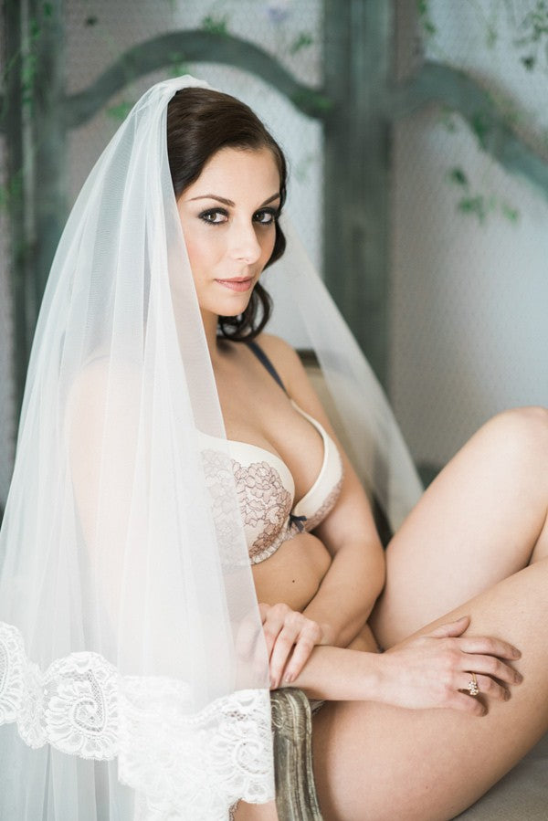 boudior bridal photo shoot with mantilla wedding veil