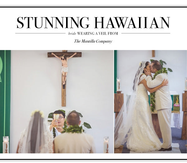 catholic wedding in hawaii with mantilla veil