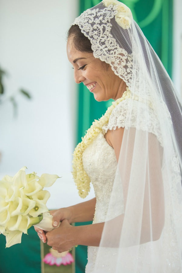 hawiian wedding in church mantilla veil