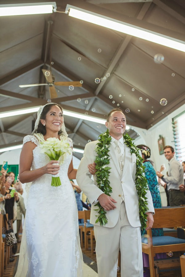 hawaiian wedding in catholic church with mantilla veil