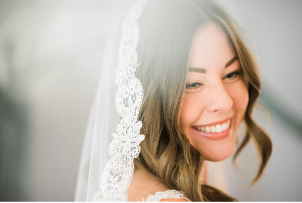 mantilla bridal veils smiling bride