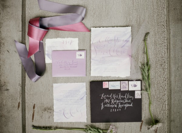 purple wedding invitations watercolor