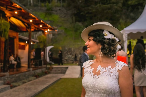 Bride in Panama Hat and Orchids in Hair