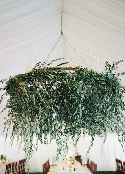 Fresh Chandelier with Fern and Candles