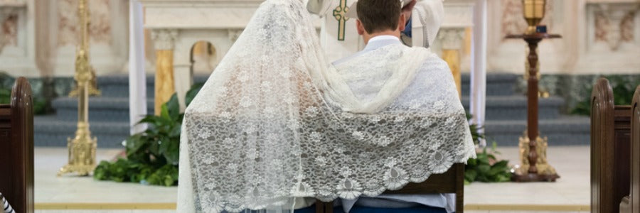 Church traditions bride and groom ceremony mantilla
