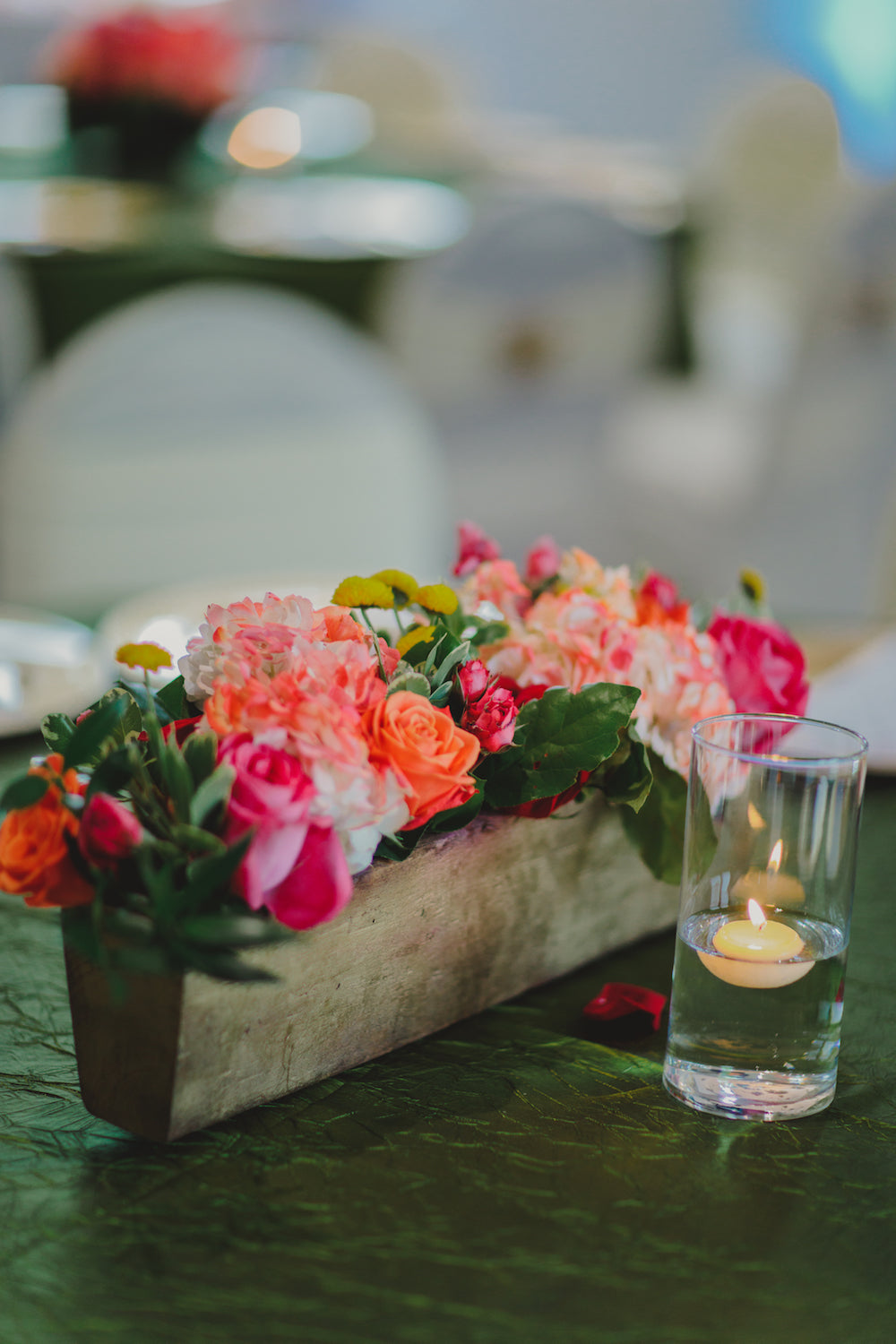 colorful centerpiece for wedding reception
