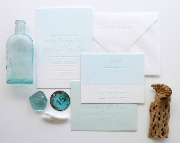 dip dyed watercolor wedding invitations in blue for beach wedding