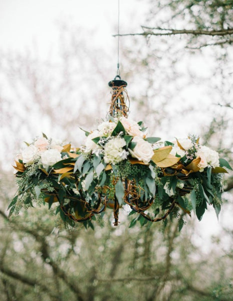 Floral Greenery Chandeliers with White Roses