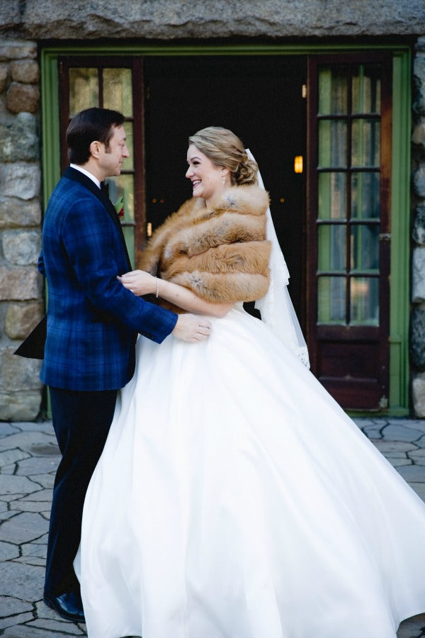 bride in fur coat- new year's day wedding ideas for a new england wedding- Willowdale Estate in Topsfield, MA- bride in mantilla veil from the mantilla company