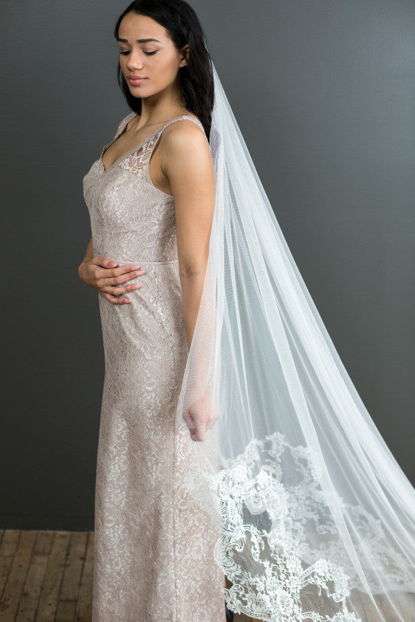 half-lace cathedral length mantilla veil
