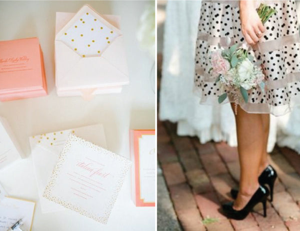 blush and gold polkadot invitation suite