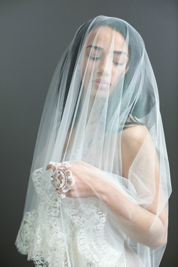 Mantilla veil with blusher cathedral veil