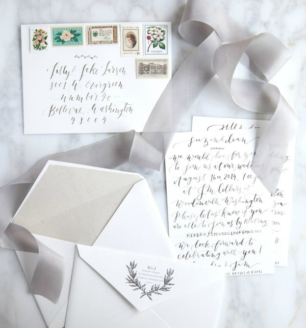 Calligraphy invitations romantic and simple in grey and lavender