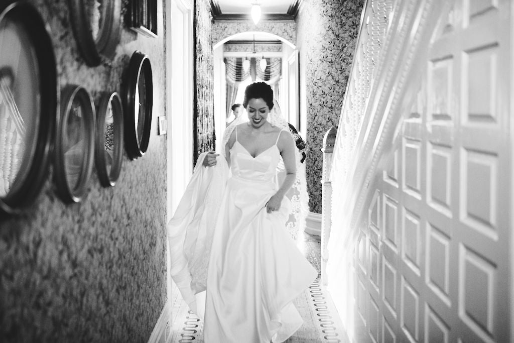 bride walking down the hallway