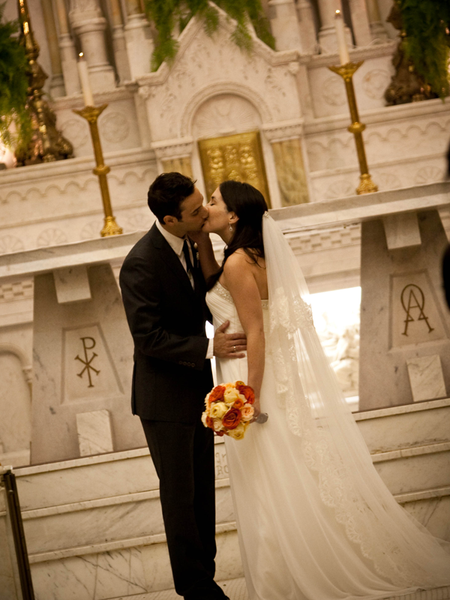 Cathedral wedding with mantilla veil