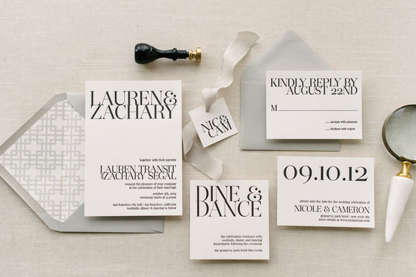 modern black and white wedding invitation