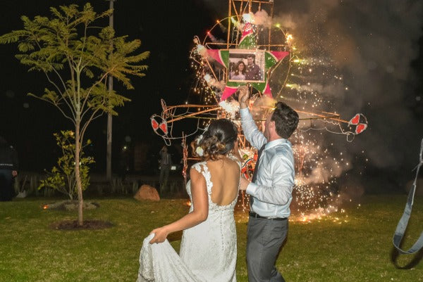 Bride and Groom Fireworks South American Wedding