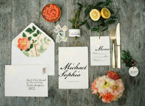 summer wedding invitation suite with gold yellow and coral