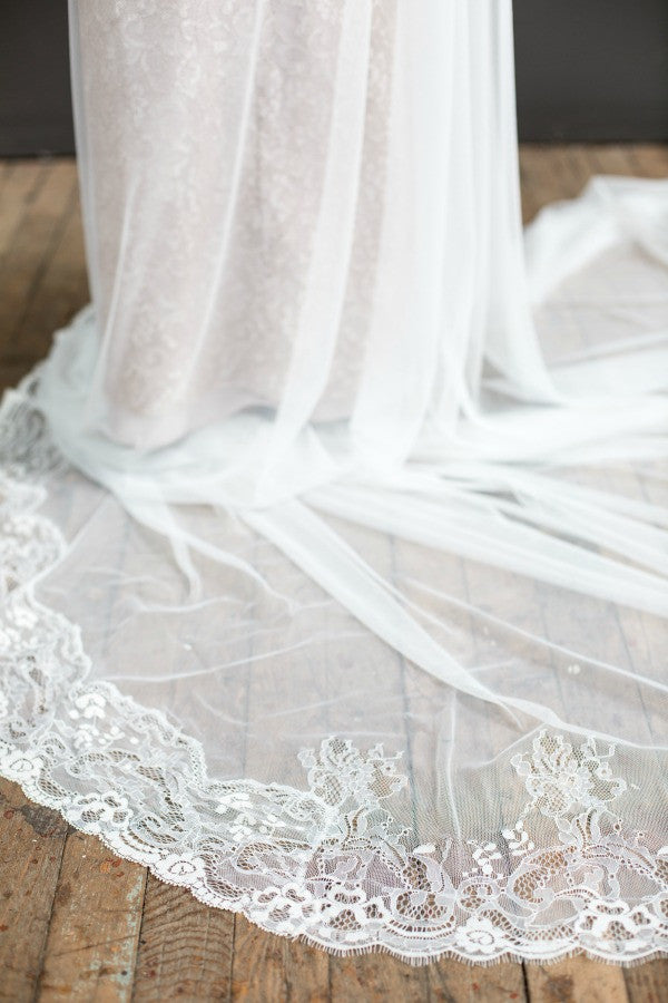 ivory cathedral length lace veil